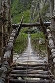 Mannelijke wandelaar kruising houten fragiele footbridge — Stockfoto