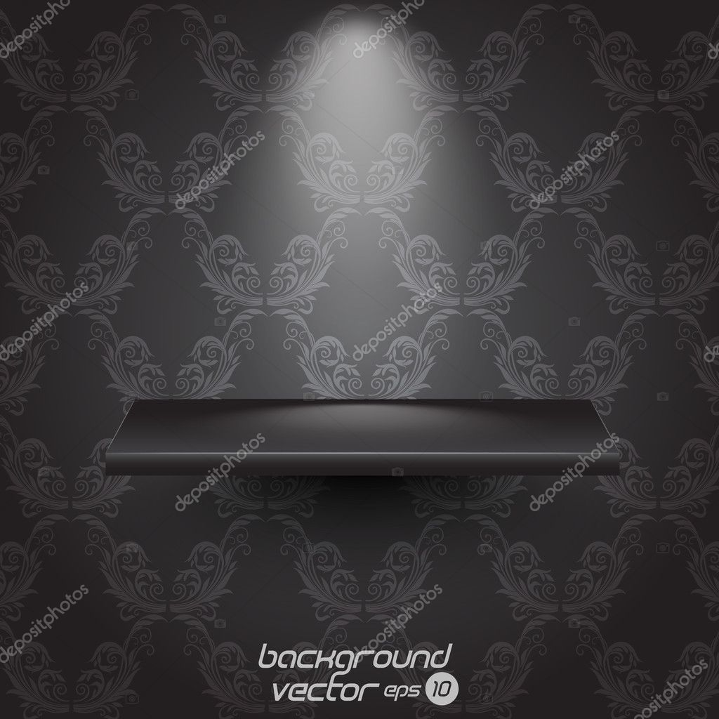 Presentacion shelf on vintage seamless wallpaper.vector eps 10 — Stock Vector #9474979