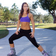 Stock Photo: Beautiful Athletic Rollerblader Outdoors (2)