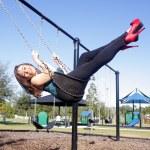 Lovely, Voluptuous Brunette on a Swing (6) — Stock Photo #8130737