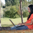 Beautiful Casual Woman Outdoors with Laptop (1) — Stock Photo #8226411