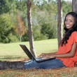 Beautiful Casual Woman Outdoors with Laptop (2) — Stock Photo