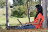 Beautiful Casual Woman Outdoors with Laptop (1) — Stock Photo