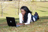Beautiful Casual Woman Outdoors with Laptop (3) — Stock Photo