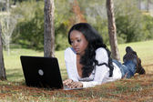Beautiful Casual Woman Outdoors with Laptop (4) — Stock Photo