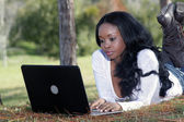 Beautiful Casual Woman Outdoors with Laptop (5) — Stock Photo