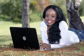 Beautiful Casual Woman Outdoors with Laptop (7) — Stock Photo