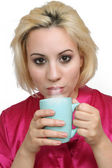 Beautiful Blonde with Coffee (3) — Stock Photo
