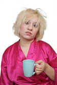 Grumpy Blonde with an Empty Coffee Cup (1) — Stock Photo