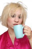 Grumpy Blonde Drinking Coffee (1) — Stock Photo