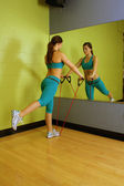 Beautiful Woman with Resistance Band (1) — Stock Photo