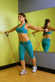 Beautiful Woman with Resistance Band (4) — Stok fotoğraf