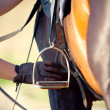Saddle with stirrup — Stock Photo