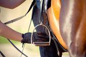 Saddle with stirrup — Stock Photo