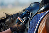 Saddle with stirrups — Stock Photo