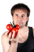 Tomato and man — Stock Photo