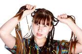 The teenage girl with plaits — Stock Photo