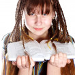 The teenage girl with plaits and the book - Stockfoto