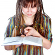 Teenage girl with plaits and book — Stock Photo #9801315