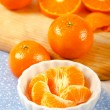 Mandarin Orange Sections in White Bowl — Stock Photo
