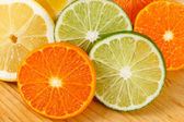 Sliced Citrus Fruit, Limes, Lemons and Oranges — Stock Photo