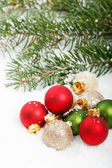 Festive Red & Green Christmas Ornaments — Stock Photo