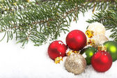 Closeup of Red and Green Christmas Ornaments — Stock Photo