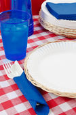 Red, White and Blue Picnic Table Setting — Stock Photo