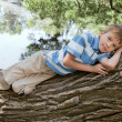 Boy lies on a tree in the park — Stock Photo