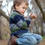 Little boy sitting on the tree stump, fall, park — Stock Photo