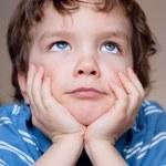 Fine small boy dreams, portrait. — Stock Photo #9614294