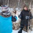Royalty-Free Stock Photo: Two boys are fighting, sedge, winter