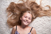Portrait of beautiful girl with long hair. — Stock Photo