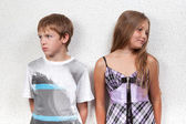 Miscommunication between beautiful girl and boy. — Stock Photo
