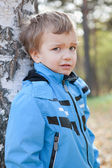 Portrait of disaffected young boy, fall, park — Stock Photo
