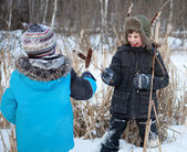 Two boys are fighting, sedge, winter — Stockfoto