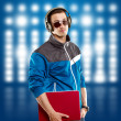 Man With Headphones And Laptop — Stock Photo #10028851