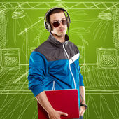Man With Headphones And Laptop — Stock Photo