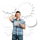 Man With Speech Bubble — Stock Photo