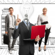 Royalty-Free Stock Photo: Lamp Head Man And Business Team