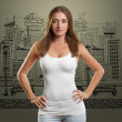 Woman In Undershirt Looking on Camera — ストック写真