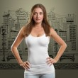 Stock Photo: Woman In Undershirt Looking on Camera