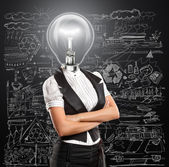 Lamp Head Business Woman — Stock Photo