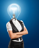 Lamp Head Business Woman — Stockfoto