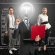Lamp Head Man And Business Team — Stock Photo #10650706