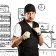 Man In Boxing Position — Stock Photo