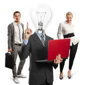 Lamp Head Man And Business Team — Zdjęcie stockowe