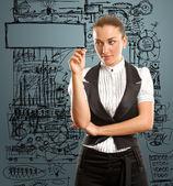 Bir şey yazma iş kadını — Stok fotoğraf