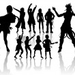 Dancing and Singing \'s Silhouettes — Stock Photo