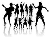 Dancing and Singing 's Silhouettes — Stock Photo